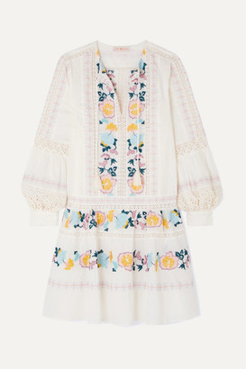 Tory Burch Boho Crochet-trimmed Embroidered Swiss-dot Cotton Mini Dress - Ivory