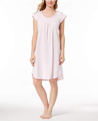 Miss Elaine Knit Ruffle-Trim Nightgown