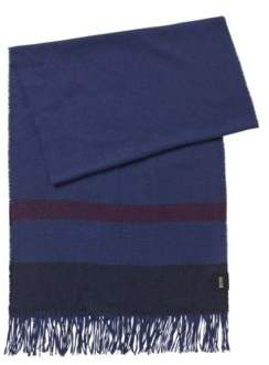 BOSS Fringed scarf with herringbone block stripes