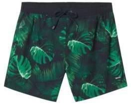 BOSS Hugo Botanical Print Swim Trunk Mandarinfish S Open Green
