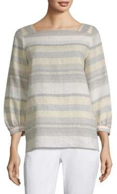 Lafayette 148 New York Harper Striped Puff Sleeve Top