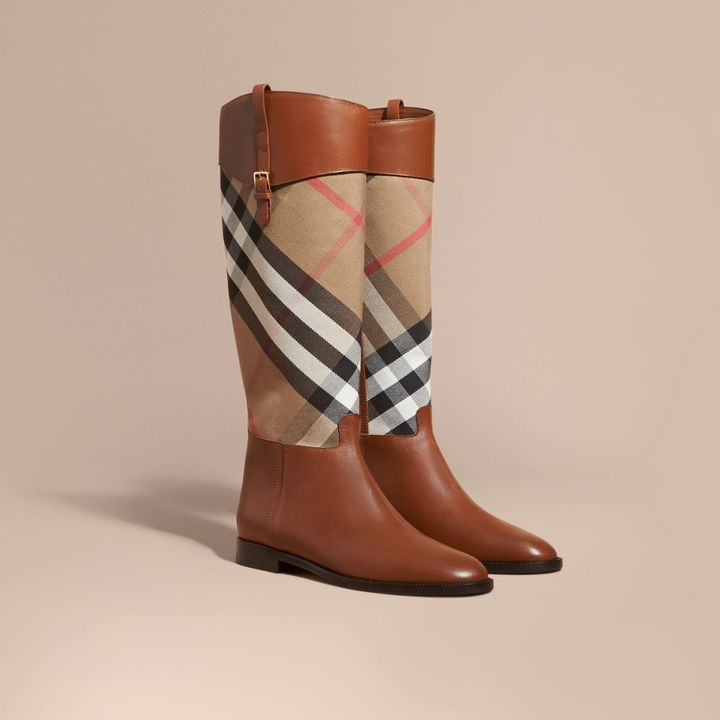 Burberry House Check and Leather Riding Boots