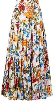 Dolce & Gabbana Tiered Printed Cotton-poplin Maxi Skirt
