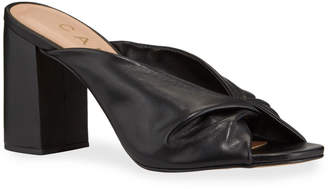 Carrano Marilyn Twisted Leather Chunky Heel Mules