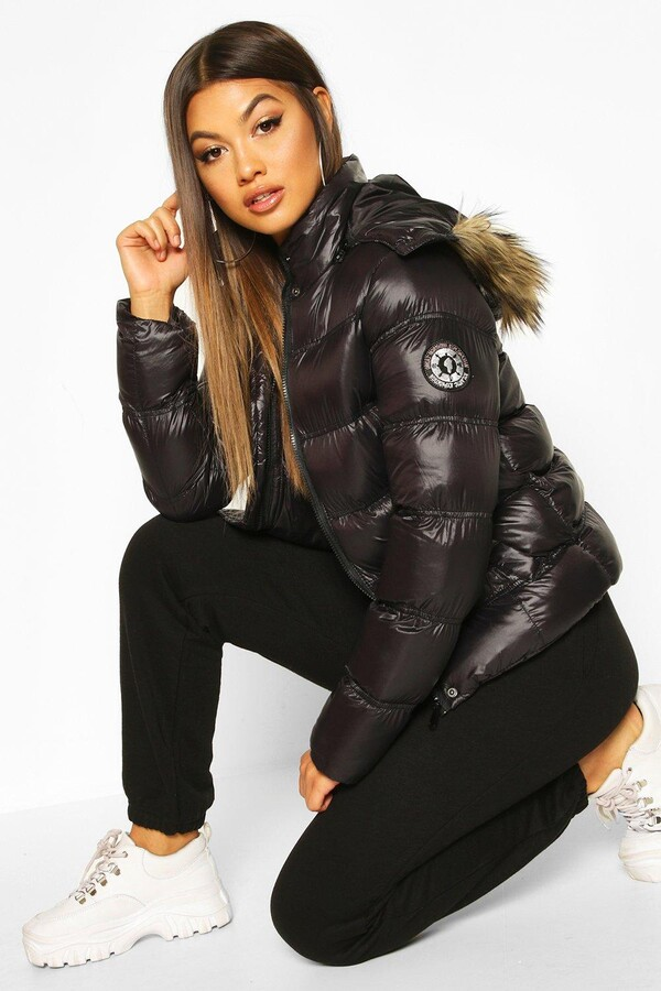 High Shine Hooded Padded Coat With Faux Fur Trim