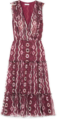 Altuzarra Jorma Ruffled Printed Silk-georgette Midi Dress - Purple