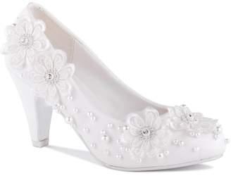 Paradox London Ursula White High Heel Embellished Court Shoes