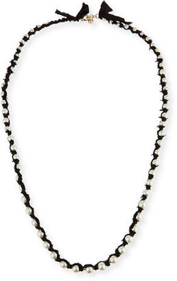 Lulu Frost Simulated Pearl Necklace on Silk Ribbon $295 thestylecure.com