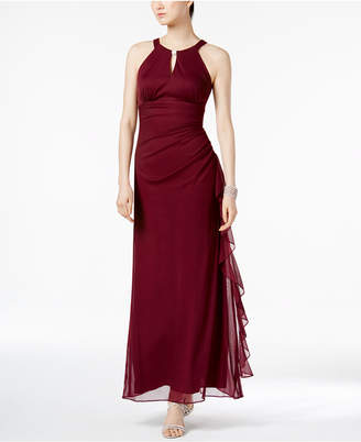 Betsy & Adam B&A by Ruched Halter Gown