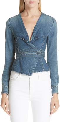 Atelier Jean Biba Denim Wrap Top