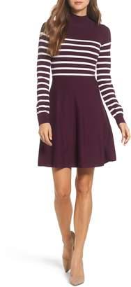 Eliza J Stripe Mock Neck Fit & Flare Dress