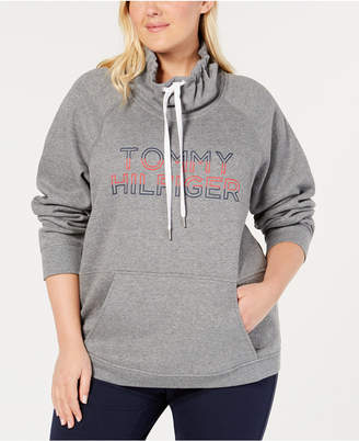 Tommy Hilfiger Plus Size Funnel-Neck Logo Sweatshirt