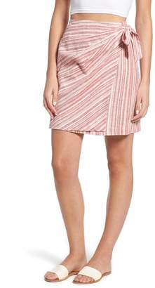 BP Stripe Linen Blend Wrap Skirt