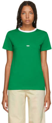 Helmut Lang Green and White Tokyo Edition Taxi T-Shirt