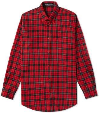 Balenciaga Flannel Back Logo Shirt