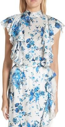 ADAM by Adam Lippes Floral Print Hammered Silk Tie Neck Top