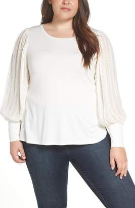 1 STATE 1.STATE Embroidered Detail Sheer Sleeve Top