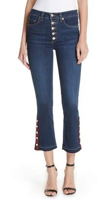 Veronica Beard Button Hem Baby Boot Jeans