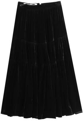 McQ Velvet Midi Skirt with Silk