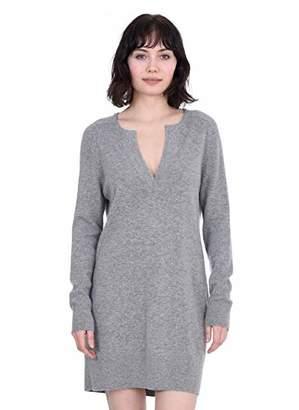 Cashmeren Women's 100% Pure Cashmere Long Sleeve V-Neck Sweater Dress (