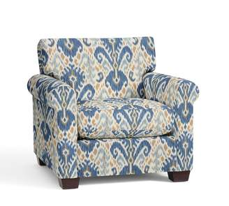 Pottery Barn York Roll Arm Upholstered Armchair - Print and Pattern