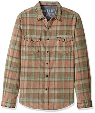 True Grit Men's Vintage Plaid Canyon Cord Long Sleeve Two Pocket Shirt