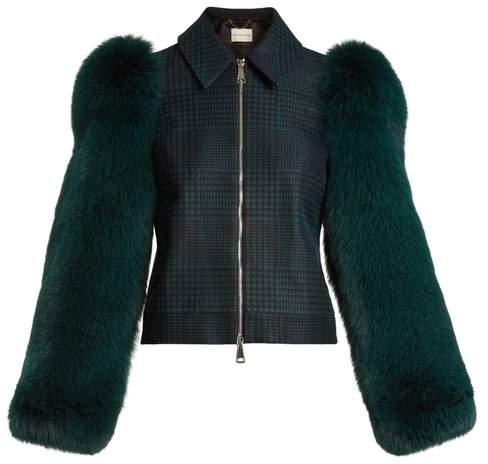 Mary Katrantzou Lodger fur-sleeve tulle and wool jacket