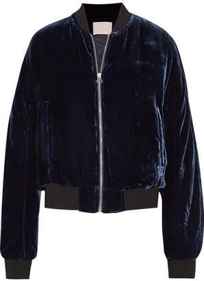 Dion Lee Velvet Bomber Jacket - Midnight blue