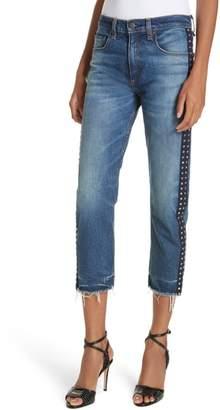 Veronica Beard Ines Rhinestone Side Stripe Girlfriend Jeans