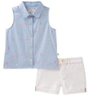 Kate Spade Baby Girl's Two-Piece Ice Pop Cotton Collared Shirt and Denim Shorts Set