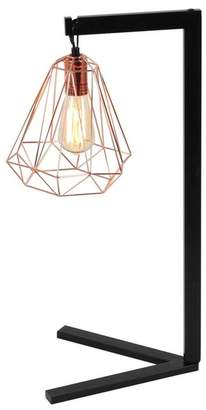 UMA Black\u002FRose Gold Metal Wire Table Lamp