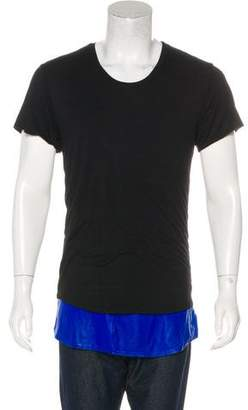En Noir Leather-Trimmed Crew Neck T-Shirt