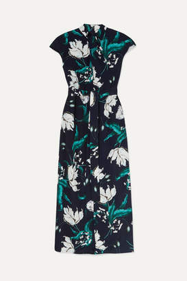Erdem Finn Belted Floral-print Crepe Midi Dress - Navy
