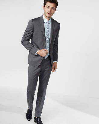 Express Slim Dark Gray Wool Blend Oxford Suit Pant