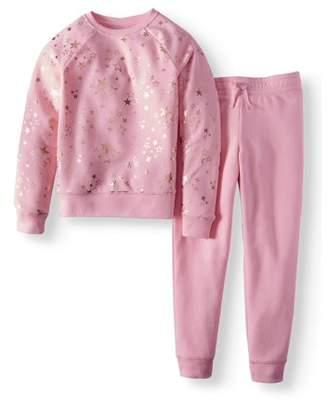 dca19b414740 Athletic Works Girls  Printed Fleece Sweatshirt and Jogger Pant 2-Piece Set