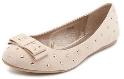 Charlotte Russe Sueded Studded Bow Flat