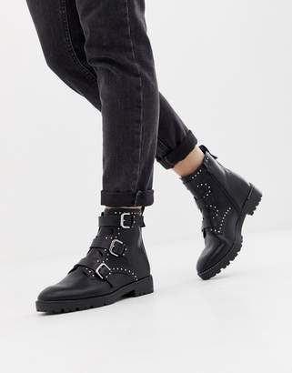 Pull&Bear boot studded and buckle strap boot