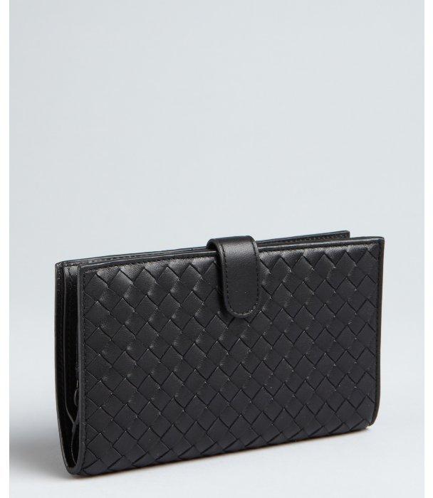 Bottega Veneta black intrecciato leather checkbook wallet