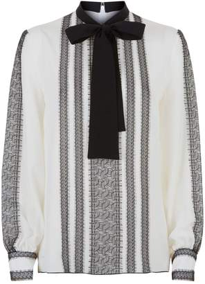 Andrew Gn Embroidered Neck Tie Blouse