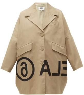 MM6 MAISON MARGIELA Logo Print Oversized Cotton Twill Jacket - Womens - Beige