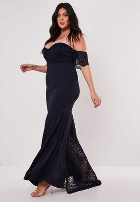 Missguided Size Bridesmaid Navy Bardot Lace Insert Fishtail Maxi Dress
