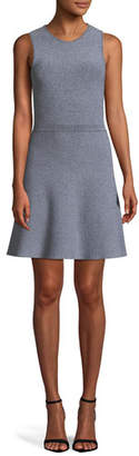 Theory Marled Fit-and-Flare Glossed Knit Mini Dress