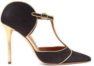 Malone Souliers Imogen T Bar Satin Mules - Womens - Black Gold