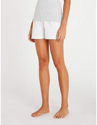 The White Company Striped cotton-flannel pyjama shorts