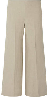 Theory Terena B Cropped Linen Wide-leg Pants - Beige