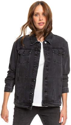 Roxy Midnight Drive Black Denim Boyfriend Jacket