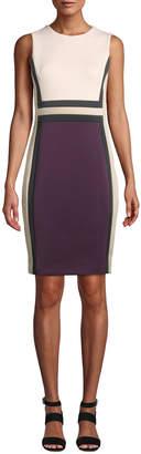 Iconic American Designer Colorblock Sleeveless Sheath Dress