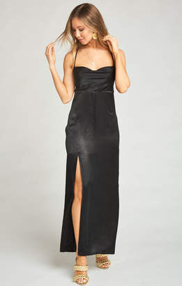 Show Me Your Mumu Winslet Cowl Maxi Dress ~ Black Sheen