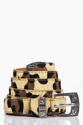 boohoo Faux Leopard Western Skinny Belt