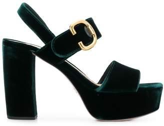 Prada velvet platform sandals